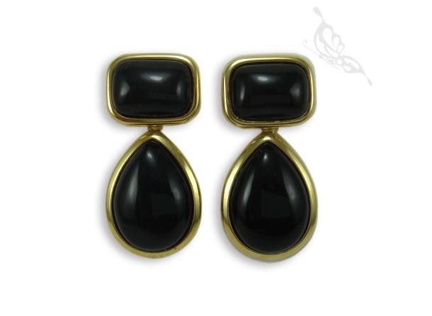 BR05PG Brinco Pedra Obsidiana Preta Gota Grande